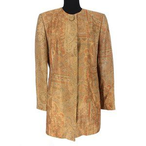 Louis Féraud Gold Metallic Long Patterned Coat 40